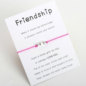 Jewelry - FRIENDSHIP Beaded Pink Thread Rope Bracelet & Card